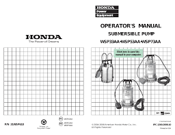 american honda motor co inc honda submersible pump wsp33aa user manual 23 pages also for