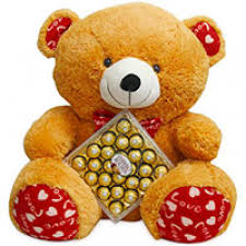 big bears for valentines day 3 height big teddy with box of 24 pcs ferrero rocher