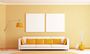 interior white and yellow color combination living room wall