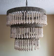 Beaded Home Decor Decor Unique Wood Beaded Chandelier Lighting In White Beaded
