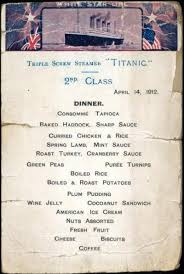 Titanic Second Class Menu by Titanic U0027s Food Menu For 1st 2nd 3rd Class Passengers Revealed