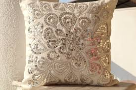 Ivory white Throw Pillows With Silver Sequins Dazzling Pillow
