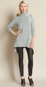 open shoulder sweater mock neck open shoulder sweater tunic grey clara sunwoo