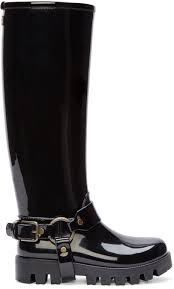harness biker boots dolce u0026 gabbana black harness rain boots in black lyst
