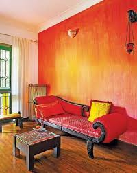 gorgeous decorative red paint wall finish for indian interior