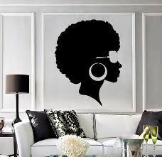 vinyl wall decal afro hairstyle black lady beauty salon stickers vinyl wall decal afro hairstyle black lady beauty salon stickers mural ig3803