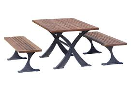 Site Table by Contemporary Bench And Table Set Wooden Aluminum Outdoor