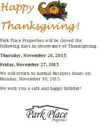 thanksgiving hours 2015 park place properties