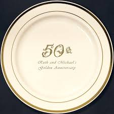 personalized dinner plate 10 in custom printed reusable gold trim plastic plates
