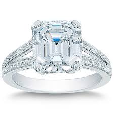 image of wedding ring emerald cut 5 43 ctw vs1 clarity e color diamond platinum wedding