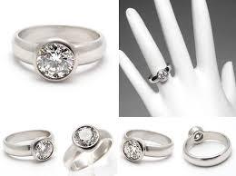 bezel set engagement ring estate engagement ring bezel set diamond solitaire solid platinum