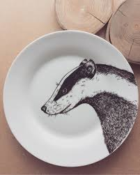 badger plate hand illustrated hand painted dish customised