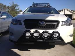 black subaru crosstrek installed ssd performance rally light bar hella 500 black magics