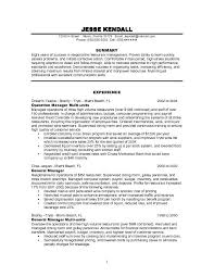 Resume Examples Summary by Restaurant Manager Resume Resume Example