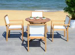 pat7041a patio sets 5 piece outdoor dining sets furniture by for endless fun in the sun look no further than this classic 5 piece dining set a modern investment its 34 5 inch round dining table and four ample chairs