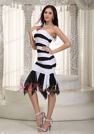 white and black mermaid strapless knee length chiffon ruch prom