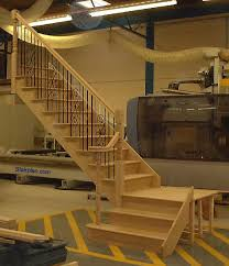 Metal Landing Banister And Railing Oak Cut String Staircase With A Quarter Landing And Volute