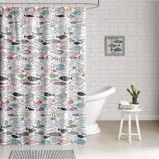 Beachy Shower Curtains Sardinia Fishes Shower Curtain Bathroom Prints Lake House Plans