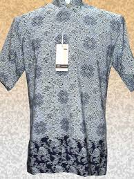 Baju Batik Batik baju batik batik l pendek kera shanghai motif biru soft dan gelap