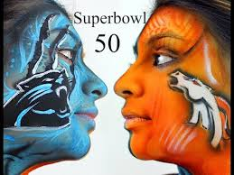superbowl 50 denver broncos vs carolina panthers nfl body paint