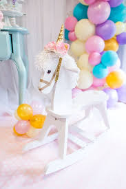 baby girl birthday ideas mystical and magical unicorn birthday party rocking unicorn