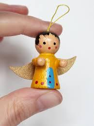 vintage hand painted wood christmas miniature angel folk art