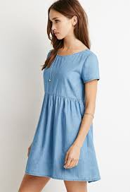 forever 21 chambray babydoll dress in blue lyst