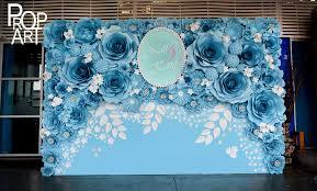 wedding backdrop blue wedding paper flowers wall backdrops flowers
