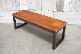 metal frame bench custom leather bench w metal frame brown bd antiques