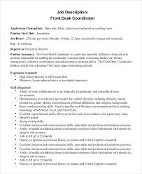 Hotel Front Desk Supervisor Job Description Sample Front Desk Job Description 10 Examples In Pdf Word