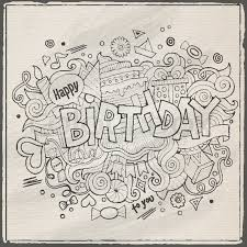Doodle Birthday Card Birthday Hand Lettering And Doodles Elements Background Vector