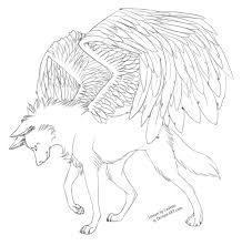 free winged wolf lineart by cederin on deviantart