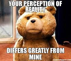Mine Meme - your perception of reality differs greatly from mine meme ted