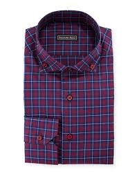 stefano ricci barrel cuff plaid dress shirt