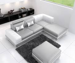 canape gris et blanc canapé cuir d angle italien avec pouf offert modèle perla 2