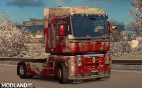 renault premium 2013 snowy dirty skin for renault magnum mod for ets 2