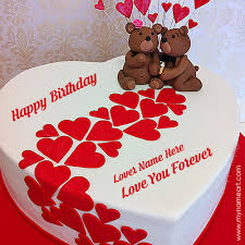 birthday cakes for write name on heart birthday cake for lover wishes greeting card