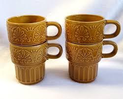vintage coffee mugs japan stackable 70s retro harvest gold set of