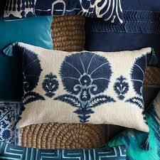 Ottoman Pillow Ottoman Floral Velvet Applique Lumbar Pillow Cover Blue