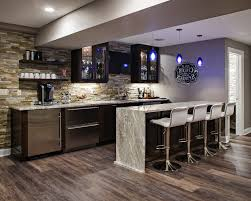 Bar Wall Shelves by Waterfall Edge Countertop Home Bar Transitional With Cabinets
