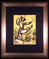 circus in yellow original color lithograph by marc chagall j d