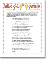 free printable bridal shower left right game new years eve holidays themed party ideas