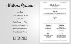 Resume For Restaurant Waitress Linda Davis Waitress U0026 Maid Resume Template 64934