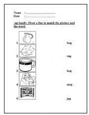 english worksheets ug word family