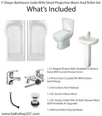 p shape bathroom suite with short projection basin and toilet set