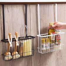 kitchen cabinet door storage racks durable bathroom cabinet door hanging storage basket holder organizer support kitchen tools storage shelves