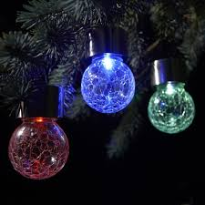 Crackle Globe Solar Lights by Set Of 3 Solar Hanging Crackle Globe Lights Colour Changing