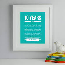 10 year anniversary gift for personalised 10 year anniversary print by elephant grey