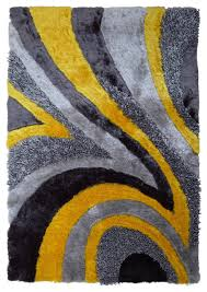 Yellow Living Room Rugs Authentic Hand Tufted High Quality Shag Rug Geometric