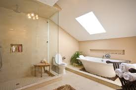 luxury apartment bathroom with round bathtub and city view on